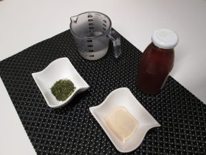 Ingredients for green tea jelly