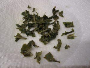 steeped tea leaves on paper towel