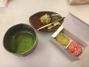 Kanshundo wagashi with matcha