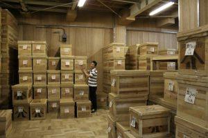 Fumio Maeda in tea cold storage room